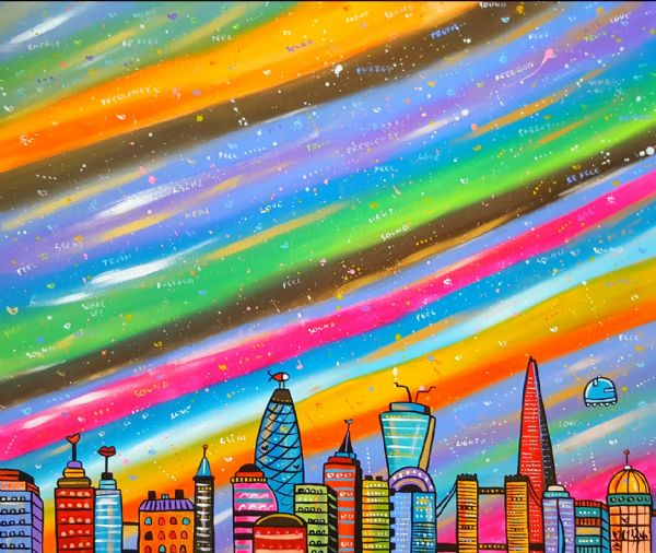 Vibrant World London, original acrylic  90 x 70 cm